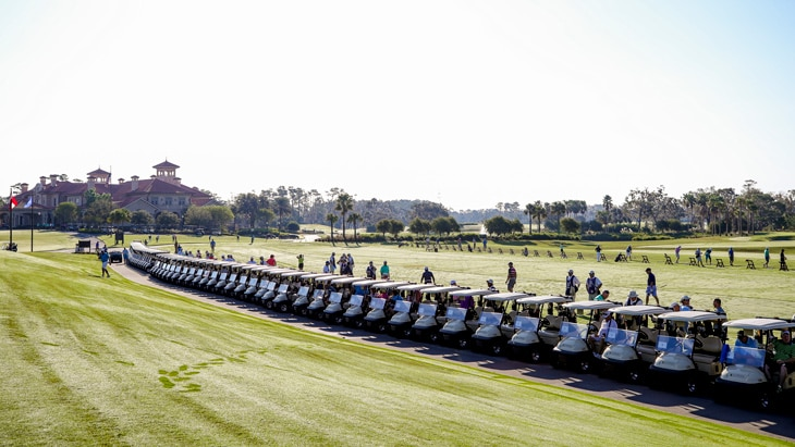 Thursday morning opened with a sea of golf carts...