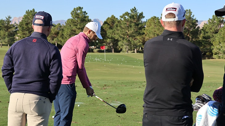 Jordan Spieth arrived on the practice tee with a...