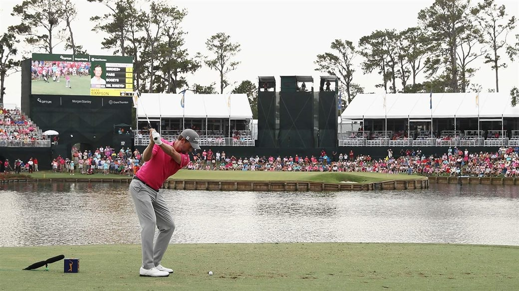 Webb Simpson about to play his tee shot to the famed 17th hole at TPC Sawgrass during final round action at the 2018 PLAYERS Championship.