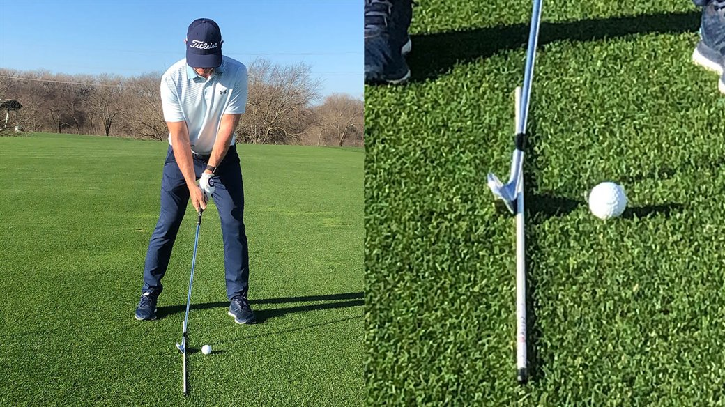 Titleist staff instructor demonstrates how to set up his Jump The Fence Drill for golfers who struggle with hitting behind the golf ball - fat-biased ground contactcontact.