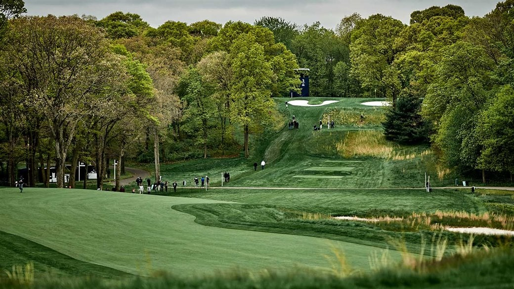 Scenic view of the 4th hole on the Black Course at Bethpage State Park, NY