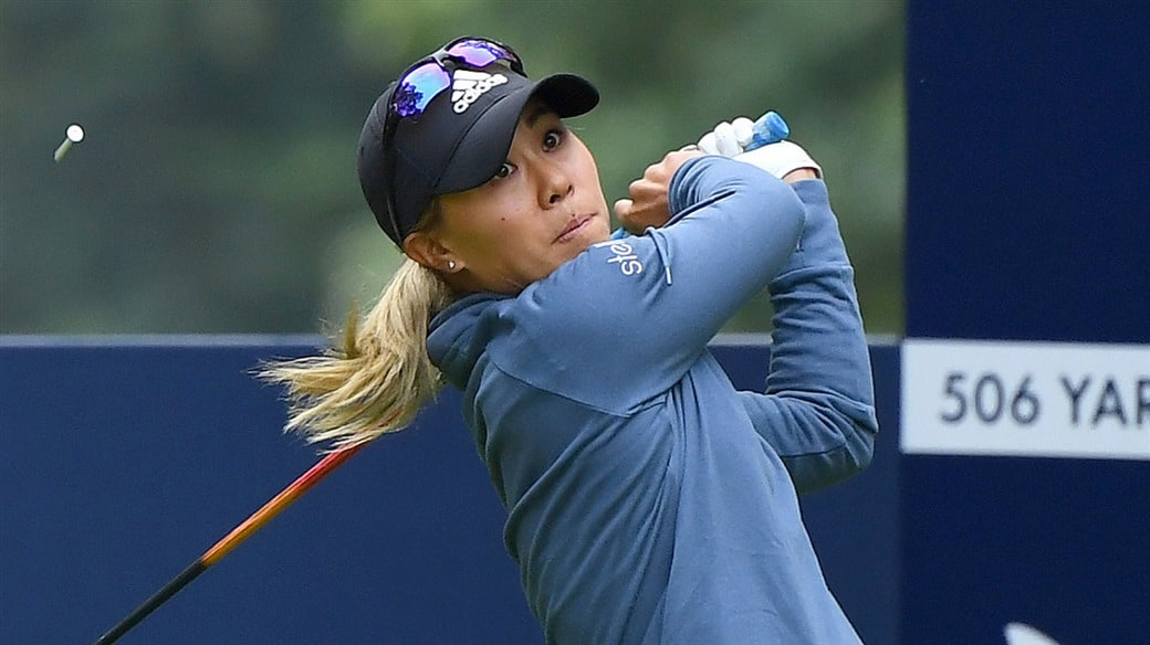 Danielle Kang launches her Pro V1x golf ball off the tee during action at the 2019 Buick LPGA Shanghai