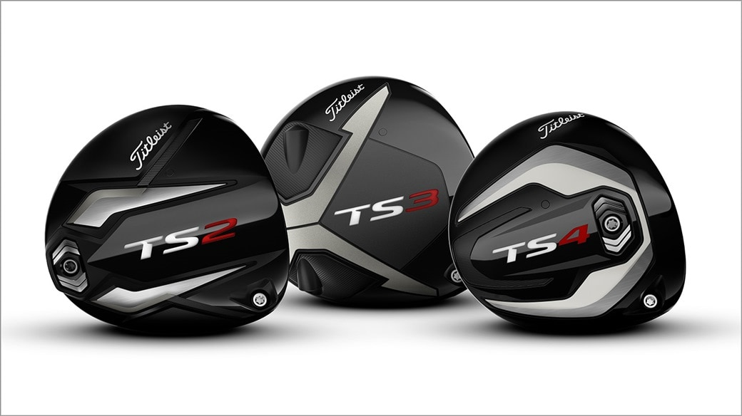 Titleist TS2, TS3 and TS4 driver club heads close up