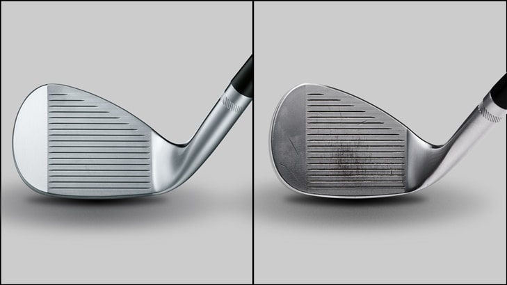 Comparing new golf wedges and wedges with groove wear